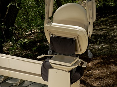 Bruno Outdoor Curved Stairlift Folded Up