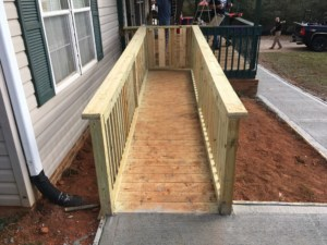 Wooden Wheelchair Ramp Installation